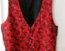 Christmas Vest Reindeer Christmas Lights Reindeer Vest Red Size Large Ugly Christmas Vest Party Unisex Vest Festive Holiday Clothing Fun