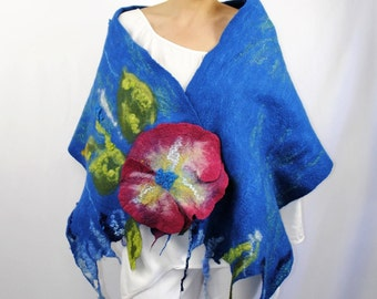 Wool with silk wrap shawl / Handmade felted scarf / Wool shawl /  Turquoise and pink.