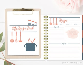 Printable recipe pages cook book binder letter size recipe