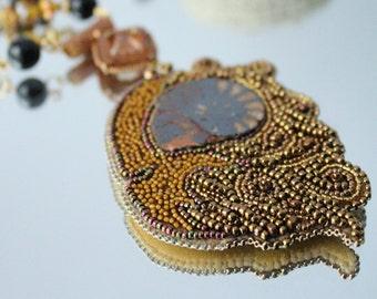 Aries ammonite pendant Beadwork Necklace