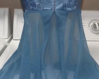 Dreamy Victoria's Secret Sheer Slate Blue Chemise Gown Negligee Medium