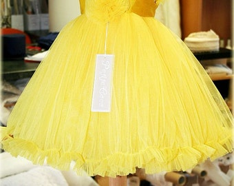 Girl Yellow Tutu Dress Happy, Flower Girl Yellow Tutu Dress, First Birthday Dress, Christmas Couture Dress, Girl Tulle Dress, Christmas Gift