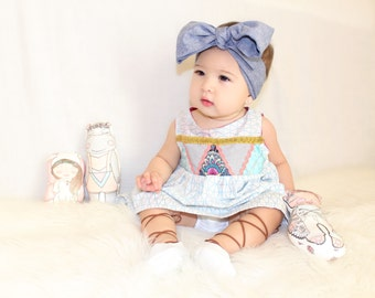 Modern Geometric Triangles Patchwork Baby/Toddler Dress