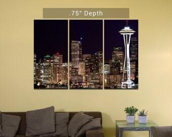 "Seattle Skyline   Space Needle - 3 Canvas Split (.75"" Depth)"