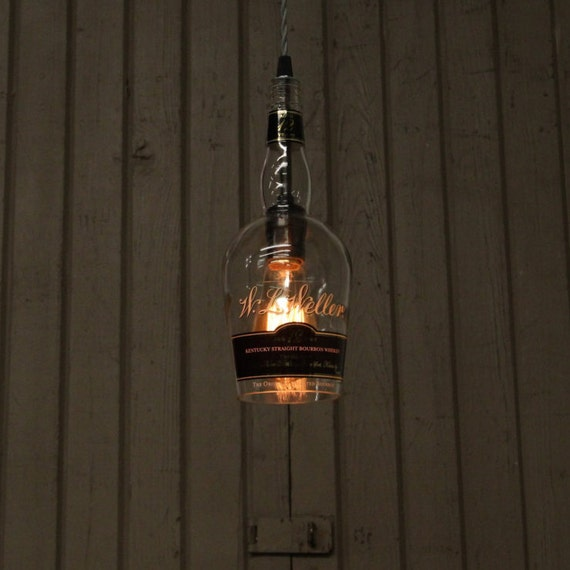 W.L. Weller Bottle Pendant Light - Upcycled Industrial Glass Ceiling Light - Handmade Bourbon Bottle Light Fixture, Recycled Lighting