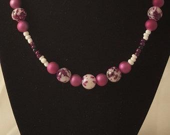 Purple Speckled Glass Beads - Purple Bead Necklace - Purple Necklace - Women's Purple Necklace - Women's Necklace - Beaded Necklace - Purple