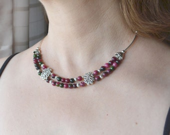 Ruby Necklace, Multistrand Necklace, Green Ruby Zoisite, Anyolite, Tribal, Ethnic, Gemstone Necklace (335)