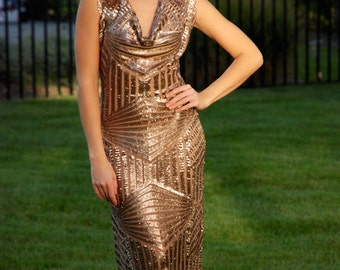 Long golden brown sequence dress with cowl neck