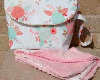 Clutch Diaper Bag with Changing Pad Summer Flowers