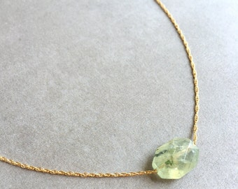 Faceted Prehnite Necklace | Green Gemstone Necklace | Octagon Gemstone Necklace
