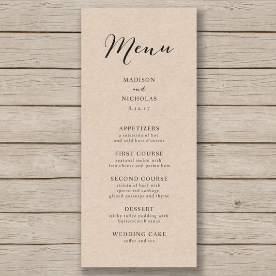 Wedding menu template rustic wedding menu by for Wedding menu cards templates for free