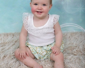 Baby bloomers, onesieor singlet and matching headband - made to order baby gift