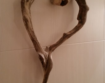 Natural wood washed up driftwood heart art, recycled wood, natural wood hanging decoration
