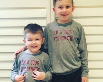 WSU Kids Lightweight Raglan-I'm A Coug. It's Genetic. Pullover-Wazzu-WSU Gift-Washington State-Go Cougs