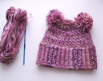 Hand crochet Warm hat with pompons, hat for autumn and winter for children, crochet baby hats, beanie for baby