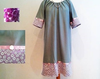 Green tunic dress,  60s 70s retro style dress, white green flowers, loose fit, womans green dress, womens dresses, pink purple green dresses