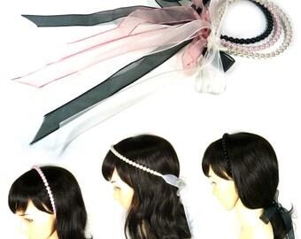 Ivory Pink Black Faux Pearl Beaded Long Chiffon Ribbon Ponytail Tie Headband Hairband Headpiece Wedding Bridal Prom Party Women Lady Girl