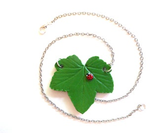 Ladybug and Leaf Necklace, Summer Outdoors, Realistic Leaf and Ladybird Necklace, Ladybug Necklace, Lady Beetle Necklace