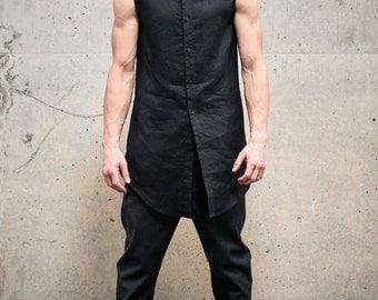 Button down mens shirt Sleeveless black shirt Linen shirt Futuristic clothing Black vest Black urban clothing Mens modern black top by POWHA