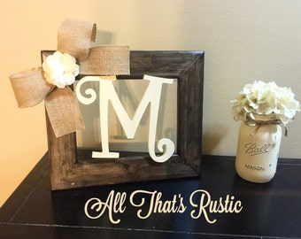 rustic tabletop initial frame initial frame personalized decor table decor picture frame rustic home decor rustic decor wood letters