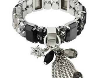 Statement Bracelet Elastic Bracelet Crystal Bracelet Swarovski Crystal Bracelet Wedding Bracelet Cuff Braceletl Black Bracelet