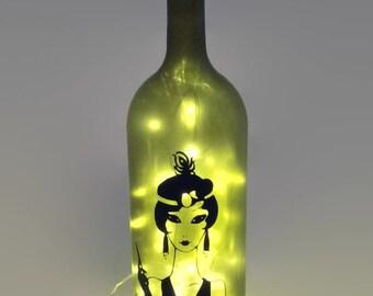 1920s Flapper Wine Bottle Lamp / Roaring Twenties / Unique Gift Ideas