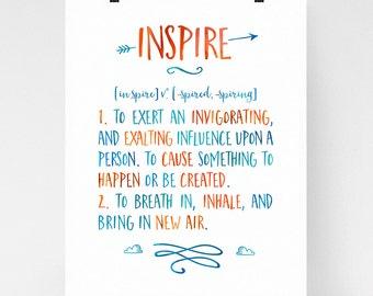 Inspire definition art, modern inspirational wall art, calligraphy art, inspire, dictionary art print, quote