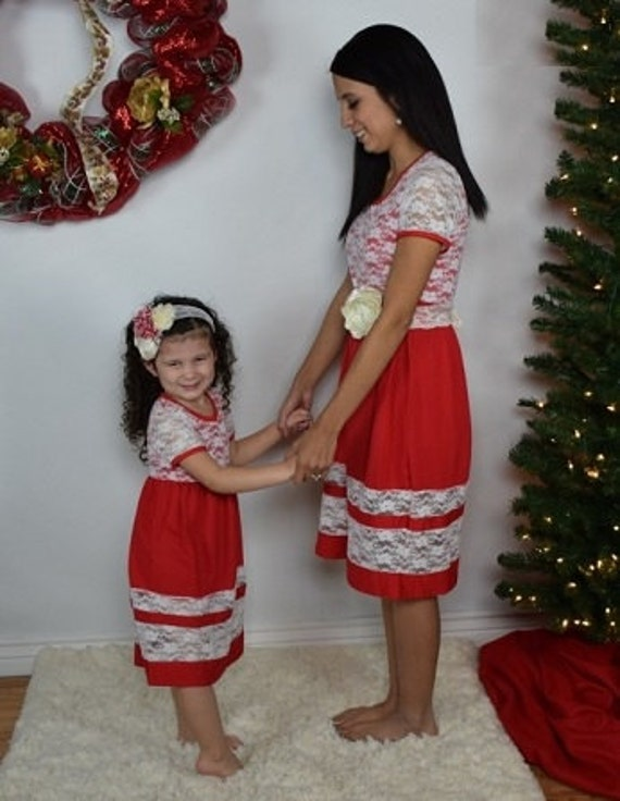 adult teen mommy and me red lace christmas boutique dress pageant photo shoot parade party mother