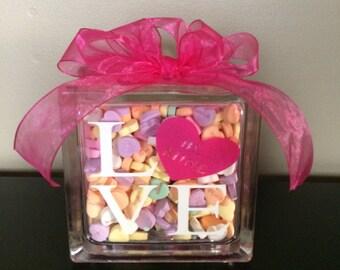 Valentine's Day Conversation Hearts Glass Block