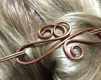 Copper Brass Metal Hair Clip Barrette, Hair Jewelry, Hair Clip, Hair Pin, Hair Barrette, Hair Stick, Scarf Pin, Wedding Hair Accessory
