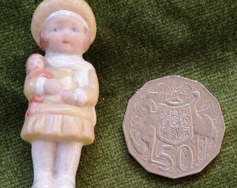 Delightful Miniature Porcelain Girl with Doll