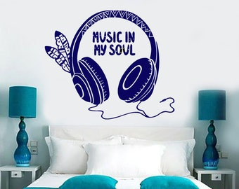 Wall Vinyl Decal Music Headphones Quote Music In My Soul Ethnic Abstract Modern Home Decor (#1198dz)