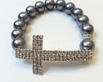 Cross Bracelet, Sideways Cross Bracelet, Rhinestone Cross Bracelet - FREE SHIPPING