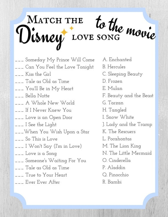 Match The Disney Love Song To The Movie By