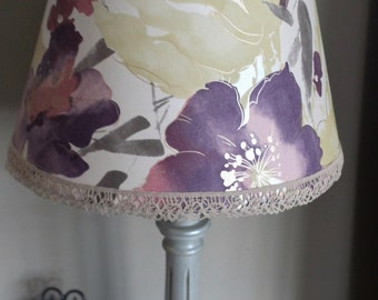 Lamp shade,purple floral shade,watercolour style flowers with metallic silver background,table lamp shade,upcycled lighting,purple lampshade
