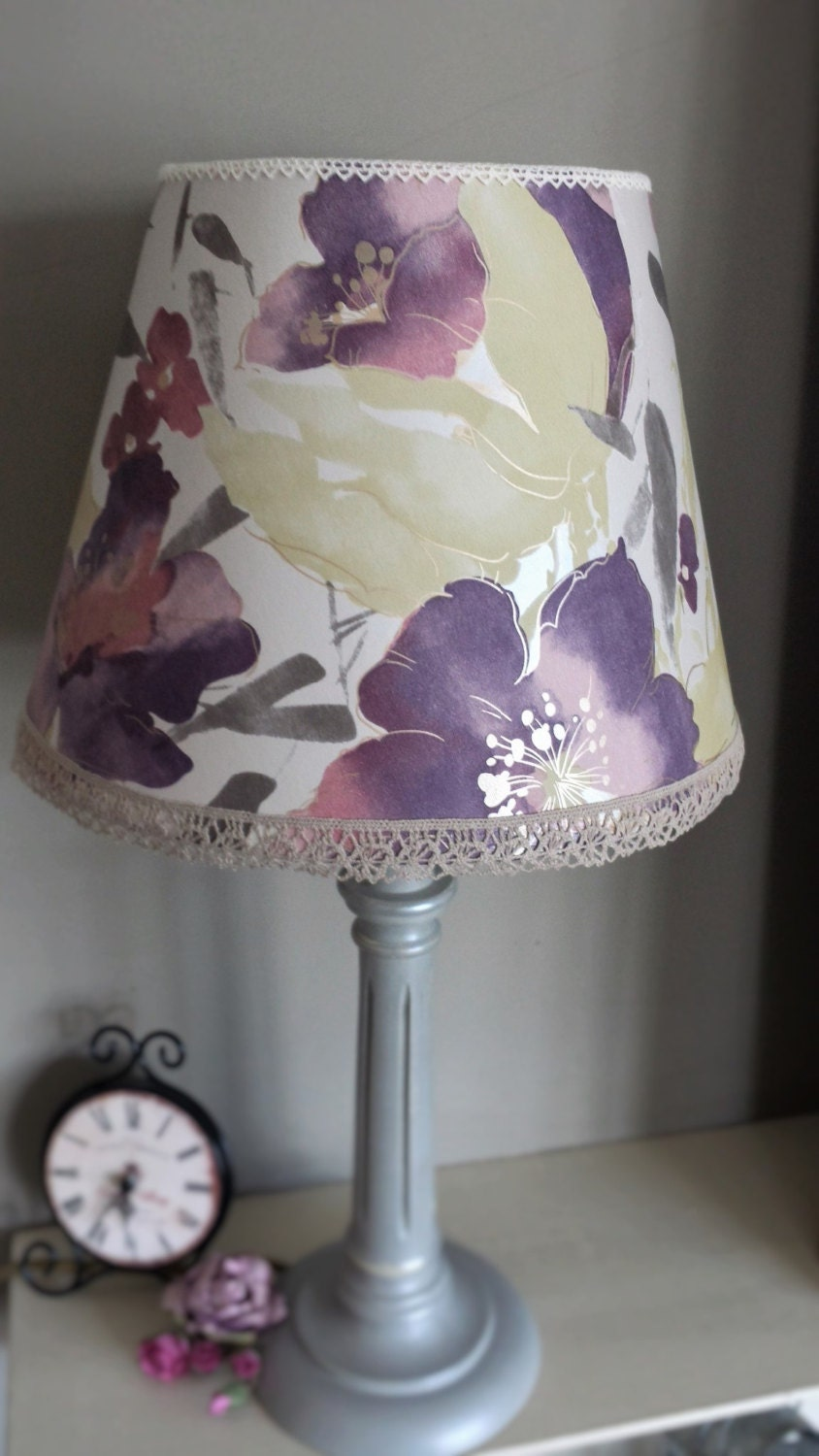 Flower Lamp Shade : Lamp shadepurple floral shadewatercolour style flowers with