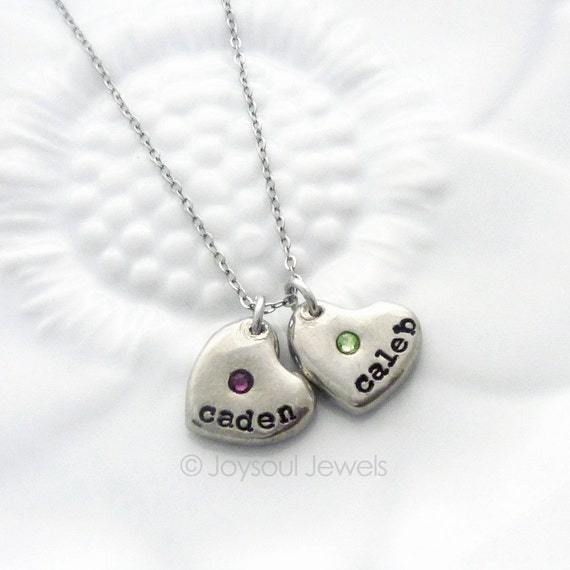 dainty birthstone heart personalized necklace mother 39 s. Black Bedroom Furniture Sets. Home Design Ideas