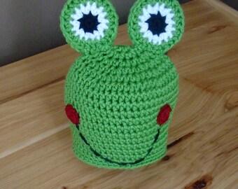 Frog Hat, Frog Baby Shower, Boy Winter Spring Beanie, Crocheted Baby Hat, Animal Hat, Baby Boy Shower,  Children's Hat, Custom Crocheted Hat
