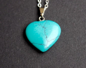 Turquoise pendant, turquoise heart necklace, healing necklace, protection necklace, bridesmaids gift, Wedding favor, Christmas present