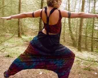 Black Rainbow Tie Dye Harem Bottom Dungarees Festival Harem Jumpsuit Hippy Romper Boho Onesie Playsuit