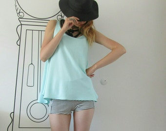 Loose Tank Top / Light Baby Blue Loose Tunic Top / Minimalist Tank Top by FabraModaStudio / T706