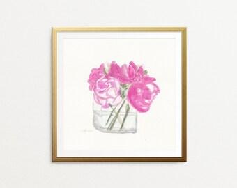 Peony art print - Pink flower art - Peonies Watercolor Painting - Watercolor flower wall art - pink peony - pink peonies - watercolor art