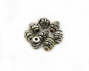 10mm Barrel Spacer Beads, Antique Silver Spacer Beads, 8 pcs Spacer Beads, Metal Spacer beads, Jewelry Making, Craft Supplies