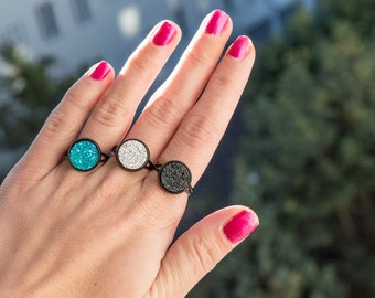 Druzy Ring White Druzy Ring Black Druzy Ring Unique Rings for Her Blue Druzy Ring Small Rings Boho Rings Black Ring for Women Adjustable