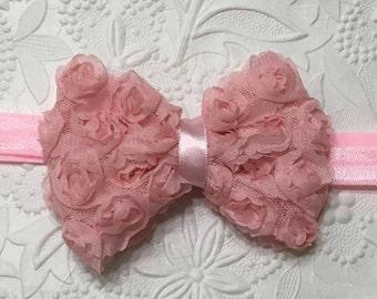 Pink Shabby Rose Flower on Pink Elastic Headband (HB-13), Shabby Flower Headband, Shabby Rose Headband, Baby Headband, Girls Headband