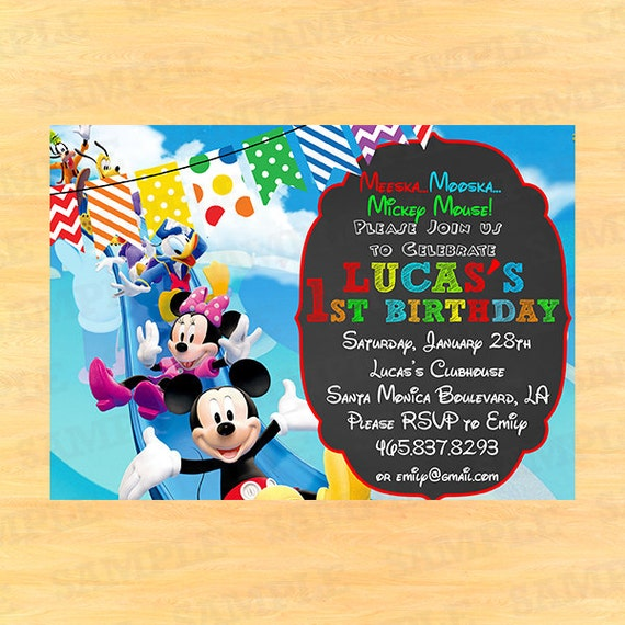 Invitation Wording For Mickey Mouse Party. Items similar to Mickey mouse clubhouse invitation wording  thank you birthday invitations on Etsy