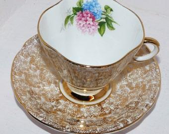 Windsor Gold Chintz Teacup and Saucer Set - Windsor Gold Chintz Teacup and Saucer - 528