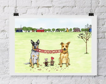 "Australian Cattle Dog, Blue Heeler, Red Heeler, Dog Art Prints, Inkjet Print, 5x7 - ""I Love You Sign"""