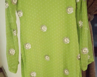 Parrot Green Polka Dot Sequined Tunic Pakistani/Indian