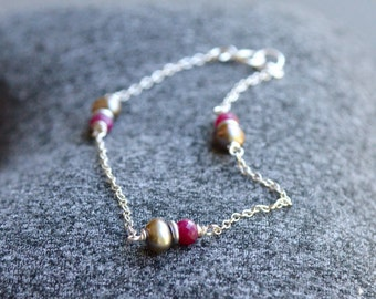 Ruby and Taupe Pearl Bracelet Sterling Silver Dainty Delicate Ruby Bracelet July Birthstone Luxe Ruby Jewelry Rubies and Silver Gift Idea